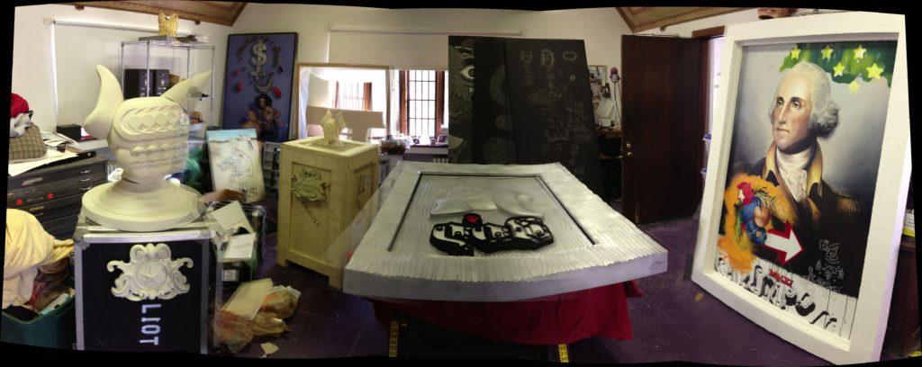 View number two of Elliott Earls Studio prior to Wayne State Exhibit.