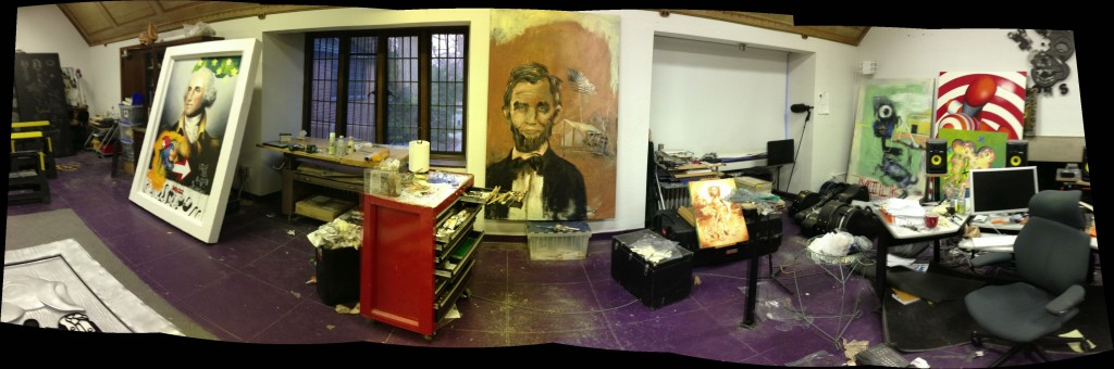Panorama of Elliott Earls studio prior to Hypertension Exhibit