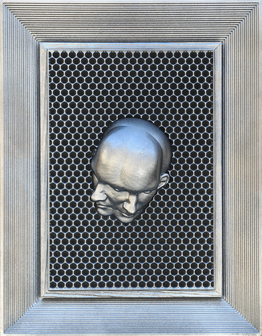 """Number 6. Series 7. by Elliott Earls for """"Undefined by Design"""" at Lorimoto 18"""" x 24"""" x 2"""" Chrome, HDU. 2014."""