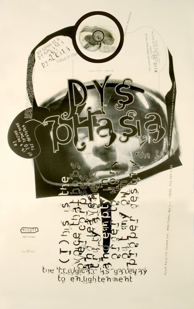 """Dysphasia Poster Front by Elliott Earls. 24x36"""" Offset Litho, 1995."""