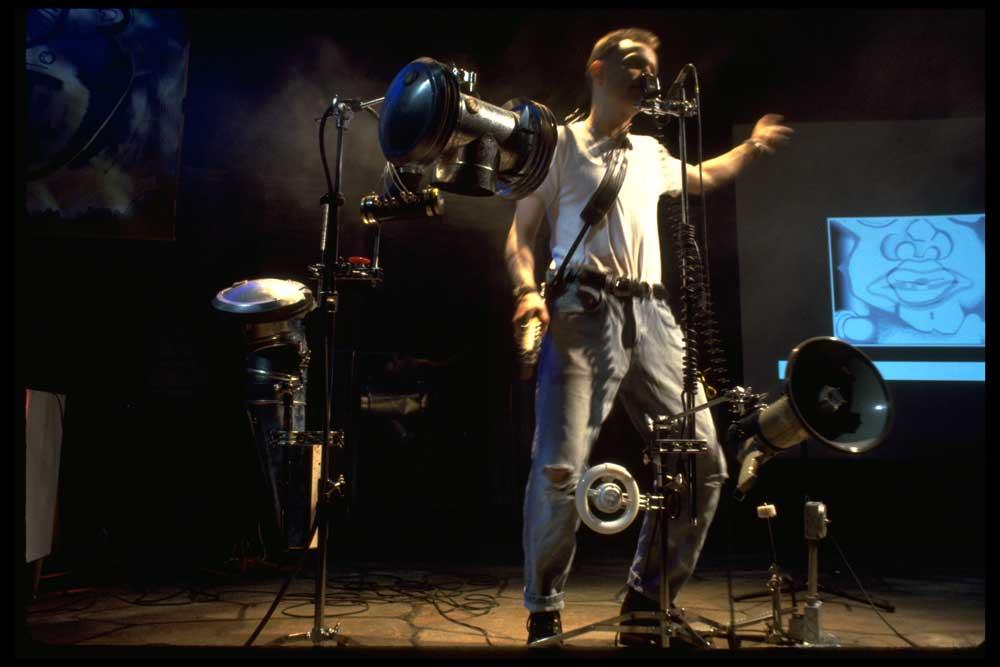 Elliott Earls Performing at the Oak Street Theater in Portland Maine. 1999. Photo by John Heaton-Jones.
